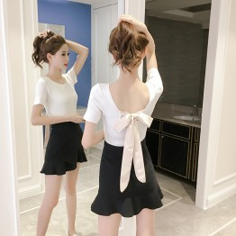 557 New sexy butterfly knotted shirt