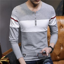 Autumn men's long sleeves new t-shirt boys cotton v-neck puzzle knit bottoming shirt young students T