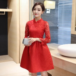 1065 stand collar nine sleeves improved cheongsam dress