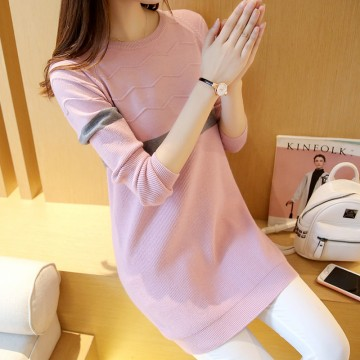 2017 autumn new women Korean version of the long section of the curling round collar Slim knitted sweater women 602