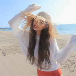 Autumn new Korean version of the long sleeve thin section hollow knitwear bat sleeves twist sweater 3658