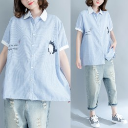 8799 large size women's vertical stripes embroidery art simple loose shirt