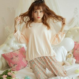 2017 new Korean version of fat mm large size women's loose long-sleeved T-shirt + floral milk silk trousers two-piece pajamas