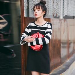 8930 stripes splicing fake two-piece dress