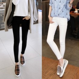 1802 Korean fashion elastic wear nine points pencil jeans