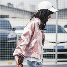 2017 real shot 8951 # loose casual personality flashing powder baseball jacket jacket thin section jacket female students
