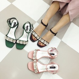 square tow silk face buckle diamond mid heel sandals