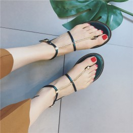 Rome word buckle toe sandals female 2017 summer Korean version of the chain slip skid flat flat with the folder foot shoes