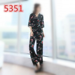 5351 slim waist knit v collar temperament ladies retro suit