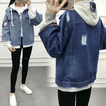 Real students denim jacket female Korean version of the 2017 autumn new loose hole hooded patch Harajuku coat bf