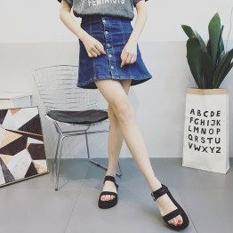 Retro thick bottom buckle black muffled sandals