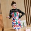 628 pregnant women fall new lace splicing dress