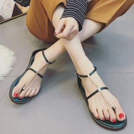 Rome buckle toe  chain slip flat sandals