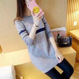 602 curling round collar slim knitted long sweater