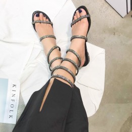 Summer new flat with a diamond sandals snake-style low-heeled shoes with small pepper with the words of the word toe sandals female