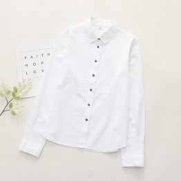 6893 # 2017 Fall new art lady cotton white shirt female long sleeve Korean white shirt