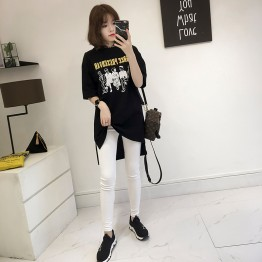 Korean version of the summer women fat mm short sleeve t shirt shirt female loose long section 3930