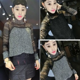 9610 autumn and winter new high-end women's fur coat personality stitching semi-high collar lace bottoming shirt