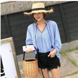 3078  national style embroidery women's striped loose shirt