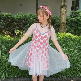 6869 ladies peach heart dress two pieces