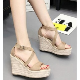 New thick base slope with sandals female summer boosimi linen rope grass Rome high-heeled leather sandals khaki