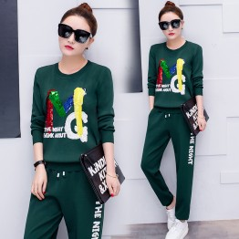 708  sports suit sequined casual two-piece round neck tracksuit