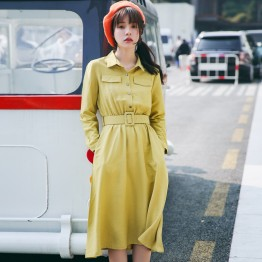 8940 # shirt collar long dress (with belt)