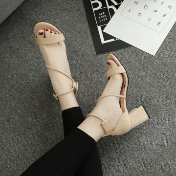Sandals female summer 2017 new high heels in the heel with a word buckle with open-toed wild banded Rome sandals female