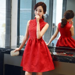 1010 stand collar improved cheongsam sleeveless dress