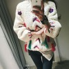 1053 # 2017 spring and autumn new Korean fashion sweet embroidery flowers tassel sweater