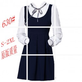 630 bowknot fake two piece  long sleeve pleated dress