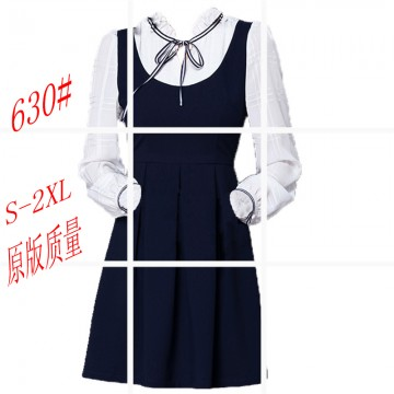 2017 spring new bow two fake dress college wind collar long sleeve pleated skirt was thin 630 #