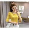 2017 summer new Korean version of the lotus sleeve sleeves sleeved in the sleeve hit the ice silk silk sweater shirt 333