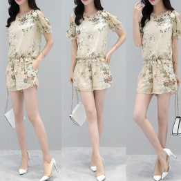 2017 new summer women's short-sleeved fashionable western style tops with wide leg pants