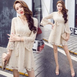 7146 Korean temperament V-neck trumpet sleeve tie waist dress