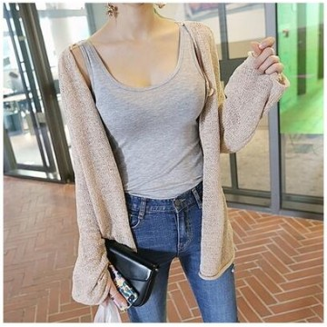 317 # autumn new Korean fashion casual wear thin wild solid color long-sleeved knitted jacket female sunscreen air conditioning shirt