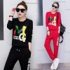 708 # 2017 autumn sports suit female fashion Korean version was thin sequined casual two-piece round neck sweater
