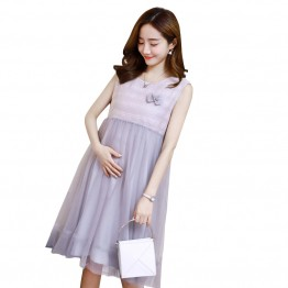 3326 # pregnant women sleeveless  lace bow chest flowers loose dress