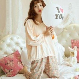 8616 large size women's loose long-sleeved T-shirt + floral milk silk trousers two-piece pajamas