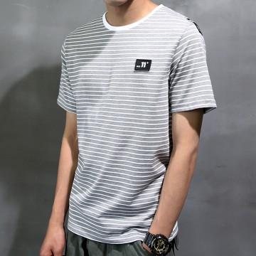 Short Sleeve T-Shirt Men's Summer New Sea Soul Shirt Men's Half Sleeve Touching Stripes Leisure Young Students 2001 #