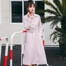 8940 # shirt collar long dress (with belt)