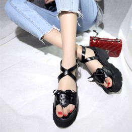 Summer rough with high-heeled waterproof platform cross strap sandals Japanese soft sister love bow knot muffled toe sandals