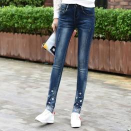 977 embroidery hot diamond hole jeans