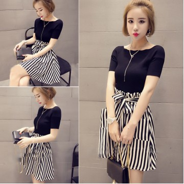 New Short Sleeve + High Waist Striped Skirt Set