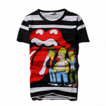 Summer fashion trend men short sleeve T shirt big mouth Simpson printing men and women lovers half sleeve Tee