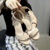 Korean version of the new coarse with sandals handbags with open toe word buckle suede wild high heels female 2017 summer shoes
