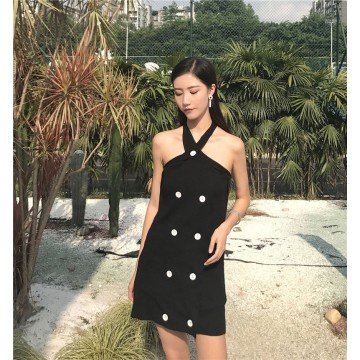 9358 # Korean fashon halter strapless slim knit dress