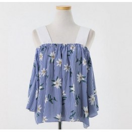 South Korea chic sexy girl two wear style flower shoulder strapless short sleeve shirt