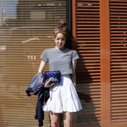 9188  lotus leaf spliicng high waist half skirt + striped t-shirt