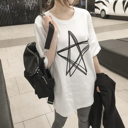 T - female short - sleeved short - sleeved long paragraph loose large code 3929